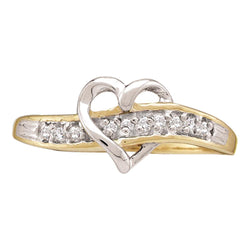 10kt Yellow Gold Womens Round Diamond Heart Love Ring 1/20 Cttw