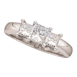 14kt White Gold Womens Princess Diamond 3-stone Bridal Wedding Engagement Ring 1/2 Cttw