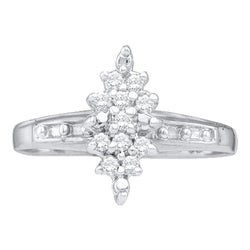 14kt White Gold Womens Round Diamond Marquise-shape Cluster Ring 1/10 Cttw