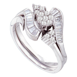 14kt White Gold Womens Round Diamond Flower Cluster Bridal Wedding Engagement Ring 1/2 Cttw