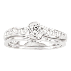 14K White Gold Round 1 Row Diamond Bridal Wedding Engagement Ring Set 1/2 CT