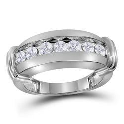 14kt White Gold Mens Round Diamond Single Row Wedding Band Ring 1.00 Cttw