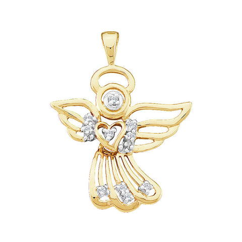 10K Yellow Gold Women's Round Diamond Guardian Angel Charm Pendant 1/10 CT