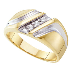 Mens 10K Yellow Gold 1 Row 3 Stone Diamond Wedding Anniversary Ring Band 1/10 CT