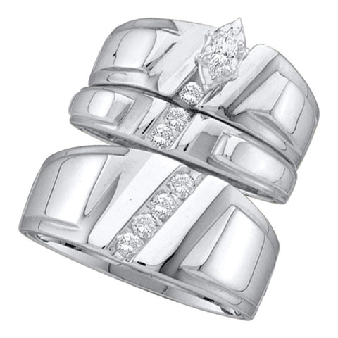 10k White Gold Marquise Diamond Solitaire Womens Mens Matching Trio Wedding Bridal Set 1/4 Cttw
