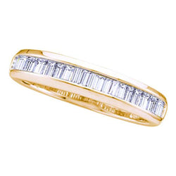 14kt Yellow Gold Womens Baguette Diamond Wedding Anniversary Band Ring 1/6 Cttw