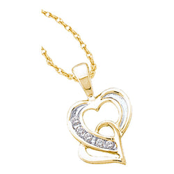 14kt Yellow Gold Womens Round Diamond Double Joined Heart Pendant 1/20 Cttw