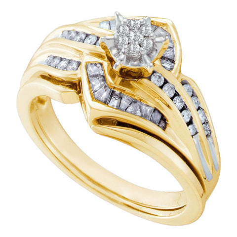 10K Yellow Gold Bridal Flower Cluster Diamond Engagement Wedding Ring Set 3/8 CT