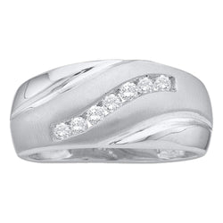 14kt White Gold Mens Round Diamond Single Row Brushed Wedding Band Ring 1/4 Cttw