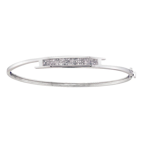 14kt White Gold Womens Princess Diamond Bangle Bracelet 1/2 Cttw