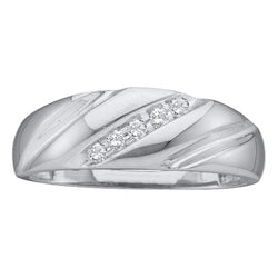 10k White Gold Round Channel-set Diamond Mens Wedding Anniversary Band 1/10 Cttw