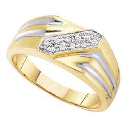 10kt Yellow Gold Mens Round Diamond Band Ring 1/10 Cttw