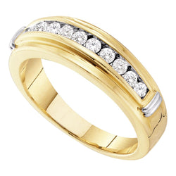 14kt Yellow Two-tone Gold Mens Round Channel-set Diamond Single Row Wedding Band 1/2 Cttw
