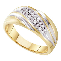 10kt Yellow Two-tone Gold Mens Round Pave-set Diamond Diagonal Double Row Wedding Band 1/4 Cttw