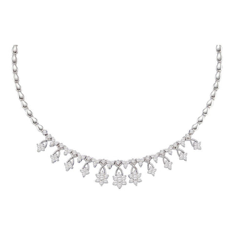 Ladies 14K White Gold Real Diamond Cluster High End Designer Necklace 2 CT