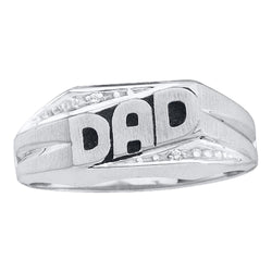 14kt White Gold Mens Round Diamond Dad Father Ring .01 Cttw