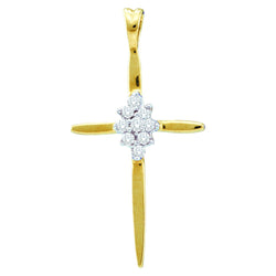 14kt Yellow Gold Womens Round Diamond Cluster Cross Religious Pendant 1/20 Cttw