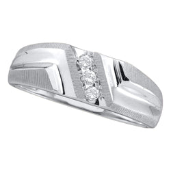 14kt White Gold Mens Round Diamond Band Wedding Anniversary Ring 1/10 Cttw