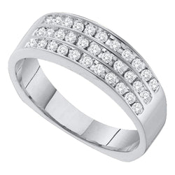 14kt White Gold Mens Round Pave-set Diamond Triple Row Wedding Band 1/2 Cttw