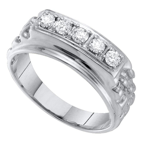 10k White Gold Mens Masculine Traditional Round Diamond Nugget Wedding Band 1/2 Cttw
