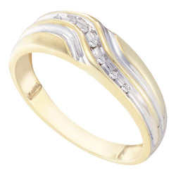 10kt Yellow Gold Mens Round Diamond Single Row Two-tone Wedding Band Ring 1/20 Cttw
