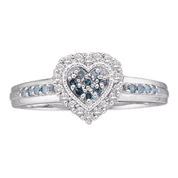 10kt White Gold Womens Round Blue Colored Diamond Heart Cluster Ring 1/4 Cttw
