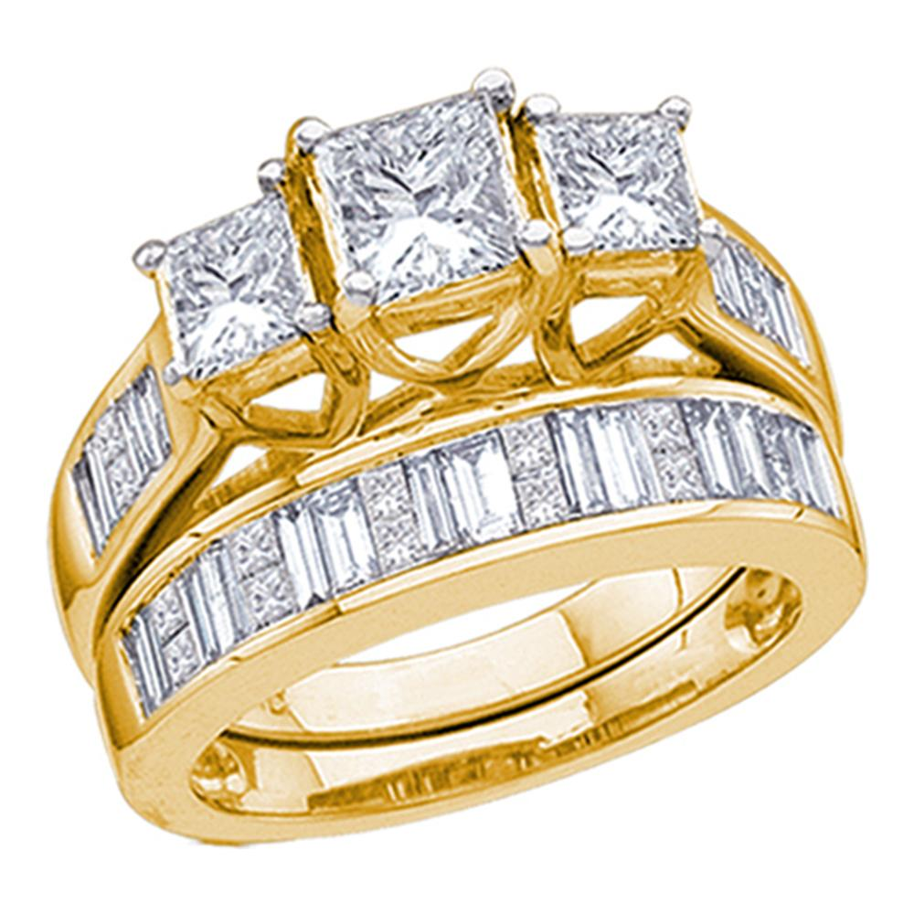 14kt Yellow Gold Womens Princess Diamond 3-Stone Bridal Wedding Engagement Ring Band Set 2.00 Cttw