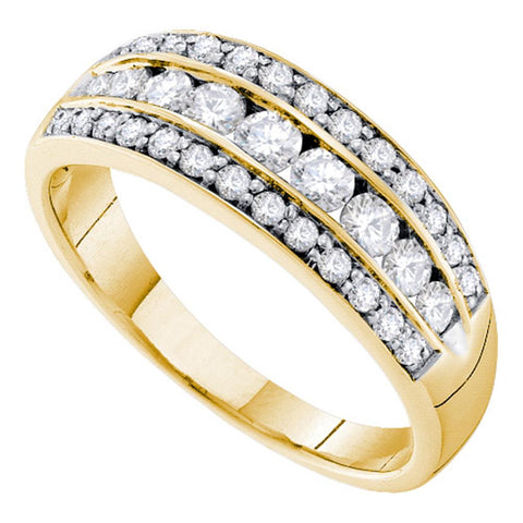 14kt Yellow Gold Womens Round Diamond Triple Row Stripe Band Ring 3/4 Cttw