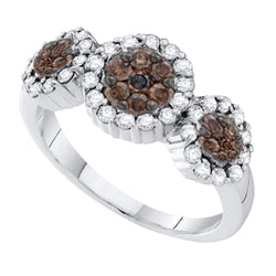 14kt White Gold Womens Round Yellow Colored Diamond Triple Flower Cluster Ring 1/2 Cttw