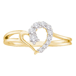 14kt Yellow Gold Womens Round Diamond Split-shank Simple Heart Ring 1/5 Cttw