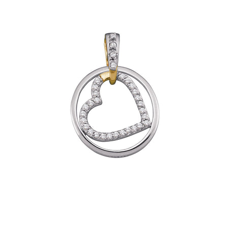 10kt Two-tone Gold Womens Round Diamond Circle & Nested Heart Love Pendant 1/5 Cttw