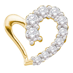 14kt Yellow Gold Womens Round Diamond Heart Love Pendant 1/5 Cttw