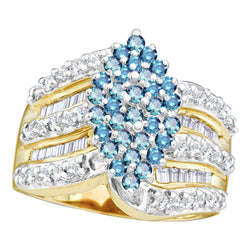 10kt Yellow Gold Womens Round Blue Colored Diamond Elevated Oval Cluster Ring 1.00 Cttw