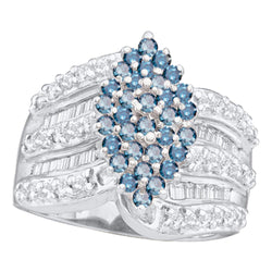 10kt White Gold Womens Round Blue Colored Diamond Elevated Oval Cluster Ring 1.00 Cttw
