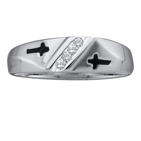 10kt White Gold Mens Round Diamond Single Row Cross Wedding Band 1/20 Cttw