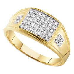 10kt Yellow Gold Mens Round Prong-set Diamond Square Cluster Ring 1/4 Cttw