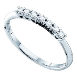 14kt White Gold Womens Round Pave-set Diamond Slender Wedding Band 1/5 Cttw