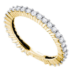 14kt Yellow Gold Womens Round Diamond Single Row Near-Eternity Wedding Band 3/4 Cttw