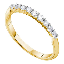 14kt Yellow Gold Womens Round Diamond Slender 2mm Wedding Band 1/4 Cttw