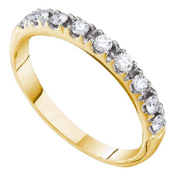 14kt Yellow Gold Womens Round Prong-set Diamond Single Row Wedding Band 1/3 Cttw