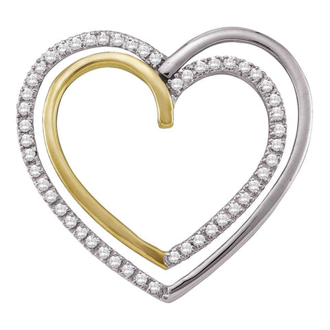 10kt Two-tone Gold Womens Round Diamond Double Nested Heart Pendant 1/4 Cttw