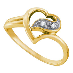 14kt Yellow Gold Womens Round Diamond Simple Heart Ring 1/20 Cttw