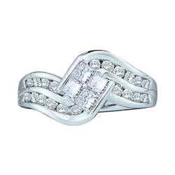 14kt White Gold Womens Princess Diamond Contoured Cluster Ring 1.00 Cttw
