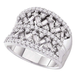 14kt White Gold Womens Round Diamond Wide Cocktail Ring 1-1/4 Cttw