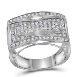 10kt White Gold Womens Round Pave-set Diamond Rectangle Cluster Ring 1.00 Cttw