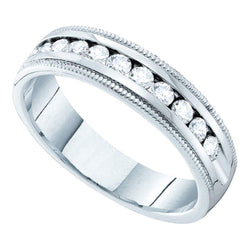 14kt White Gold Womens Round Channel-set Diamond Single Row Wedding Band 1/2