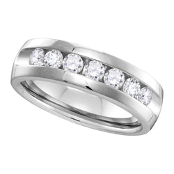 14kt White Gold Mens Round Channel-set Diamond Wedding Band Ring 1.00 Cttw