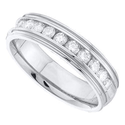 14kt White Gold Mens Round Diamond Band Wedding Anniversary Ring 1/4 Cttw
