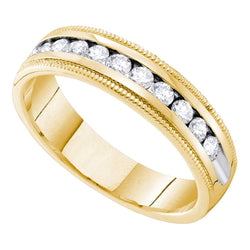 14kt Yellow Gold Womens Round Channel-set Diamond Single Row Wedding Band 1/2