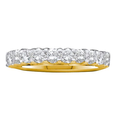14kt Yellow Gold Womens Round Pave-set Diamond Single Row Wedding Band 1.00 Cttw